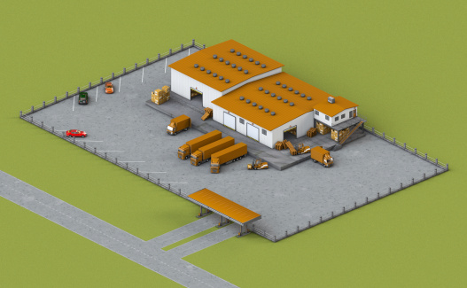illustration of infrastructure warehouse with truck, loader and boxes